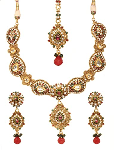 87bfa441d385a Amazon.com: Bindhani Wedding Bridal Indian Red Green Kundan Jewelry ...