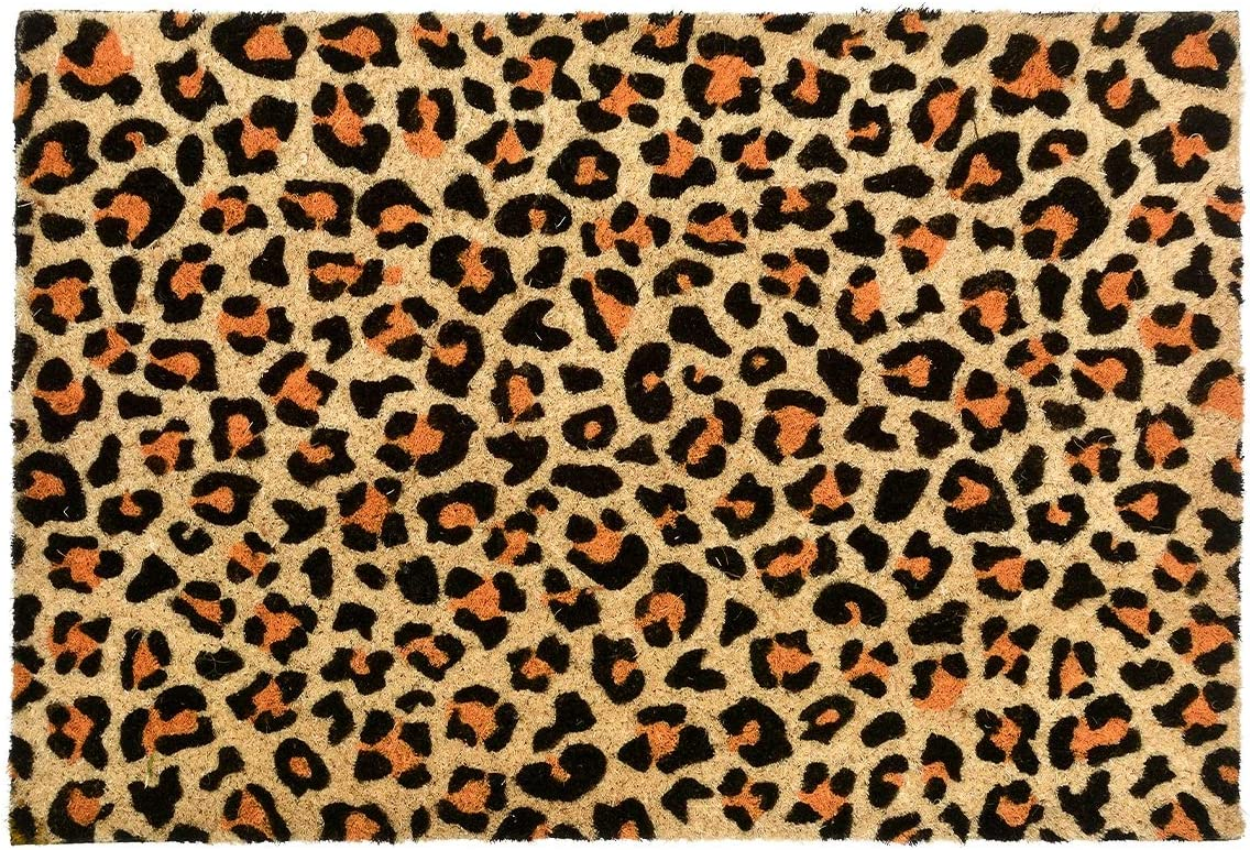 CKB LTD Leopard Print Novelty Doormat Unique Doormats Front Back Funny Door Mats Made with A Non-Slip PVC Backing – Natural Coir – Indoor Outdoor
