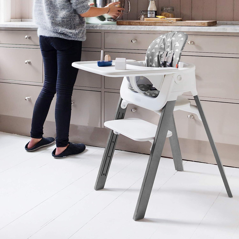 Holz: Buche Sitz: Grau Stokke Steps Stuhl der mit Ihrem Baby mitw/ächst Farbe: Natural Der wandelbare Stuhl