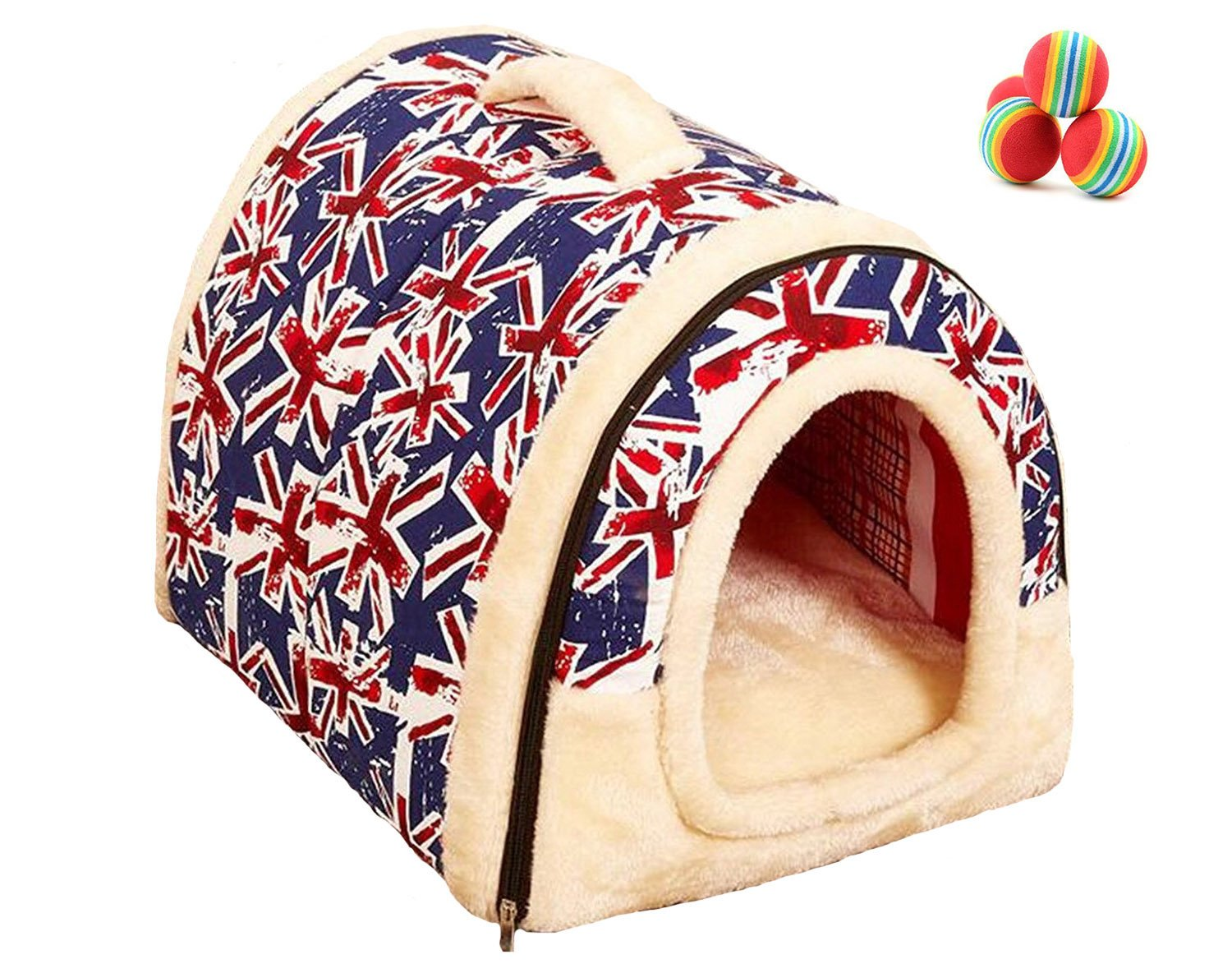 Union Jack M Union Jack M Cozy Pet Dog Cat Cave,M&G House Portable Arch House Pet House with Removable Bed Cushion Mat, Waterproof Non-Slip Sofa Puppy Bed M