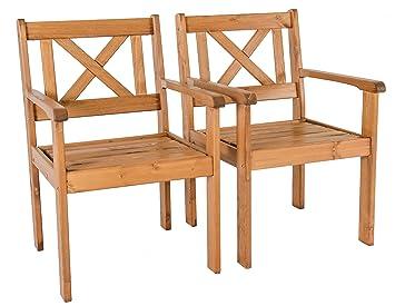 Ambientehome Java Exclusiv EVJE - Juego de 2 sillas de Jardín, Madera Maciza, Color