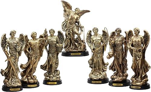 Ebros Byzantine Catholic Church Archangel Saint Michael Gabriel Barachiel Sealtiel Jehudiel Uriel Raphael Statues Set of 7 Angelic Council Decorative Figurines With Brass Name Plate Wooden Bases