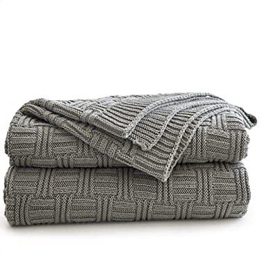 Longhui bedding Cotton Gray Cable Knit Throw Blanket for Couch Chairs Bed Beach, Home Decorative Grey Knitted Blanket, 50 x 60 Inch with a Washing Bag,Silk Bow Tie Package