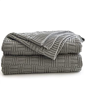 Longhui Bedding Cotton Gray Cable Knit Throw Blanket For Couch Chairs Bed Beach Home Decorative Grey Knitted Blanket 50 X 60 Inch With A Washing