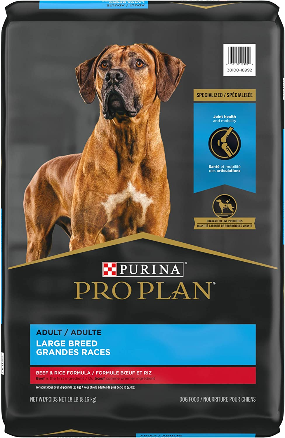 Purina Pro Plan Joint Health Large Breed Dog Food with Probiotics for Dogs, Beef & Rice Formula - 18 lb. Bag