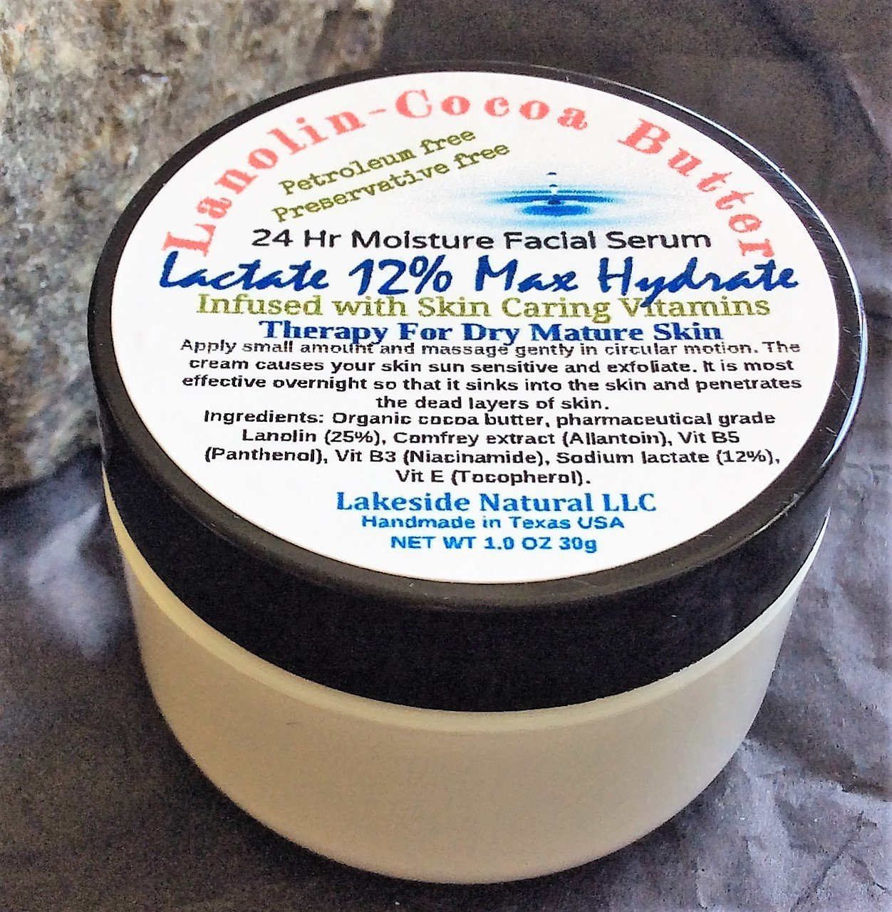 Max Hydra Lactate Lotion 12% with Lanolin & Cocoa Butter Cream for Skin - All Natural Therapy for Extremely Dry Cracked Skin by Lakeside Natural Apothecary