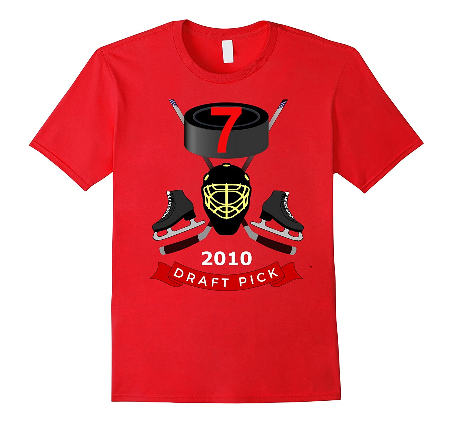 #7 Birthday T-Shirt - 2010 Draft Pick Hockey Birthday TShirt-TH