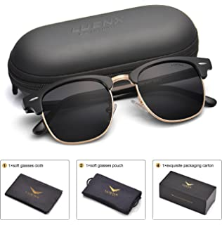 5022db206 Men Semi Rimless Polarized Sunglasses Women UV 400 Protection 51MM,by LUENX  with Case
