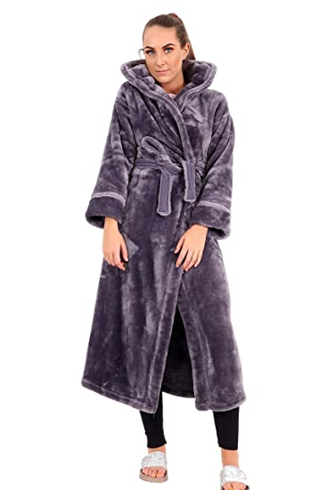 Ex Marks   Spencer Ladies Luxury Fleece Hooded Dressing Gown (6-8) Purple b3fd9c2a5