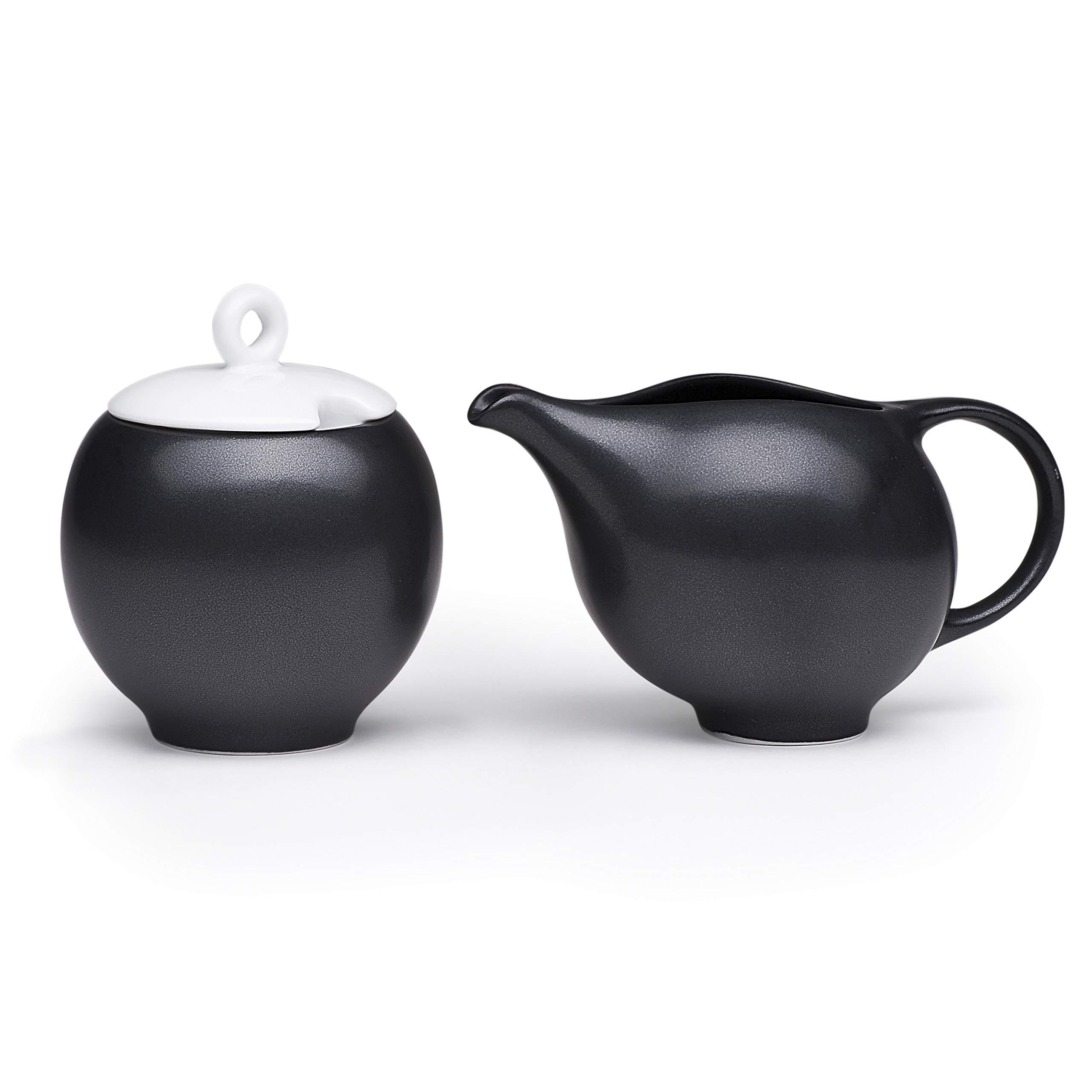 Maia Ming Designs | EVA 2-Piece Ceramic Creamer and Sugar Bowl w/Lid | Coffee Tea Serving Set in Black-White Stoneware | 7oz No-Drip Milk Pitcher and Sugar Jar | Eva Zeisel Inspired