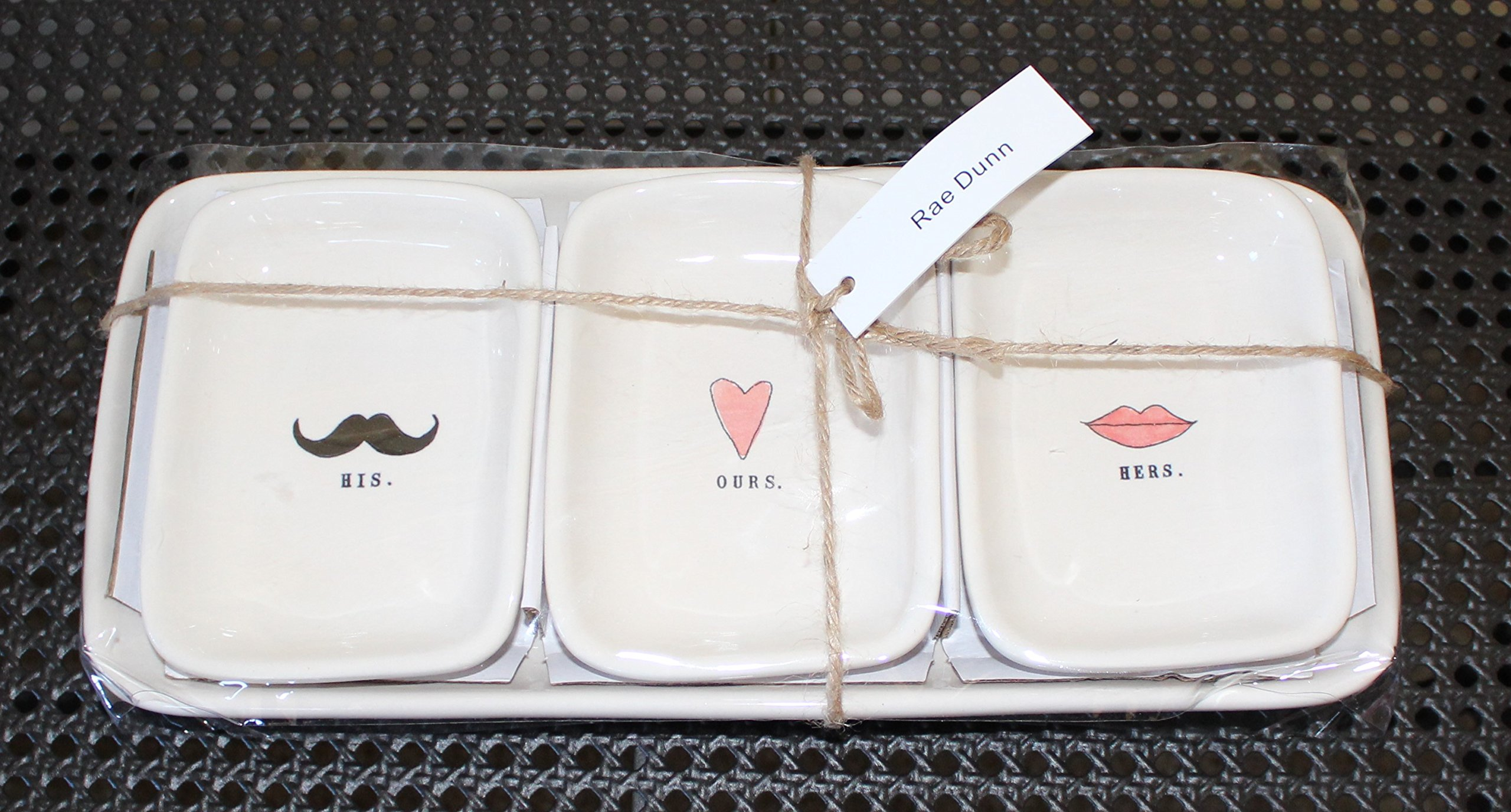 Rae Dunn HIS OURS HERS in typeset with Black Mustache, Pink Heart, and Red Lips 3 bowl Valentines Day Snack Dessert Organizer Set with Large Tray. By Magenta.