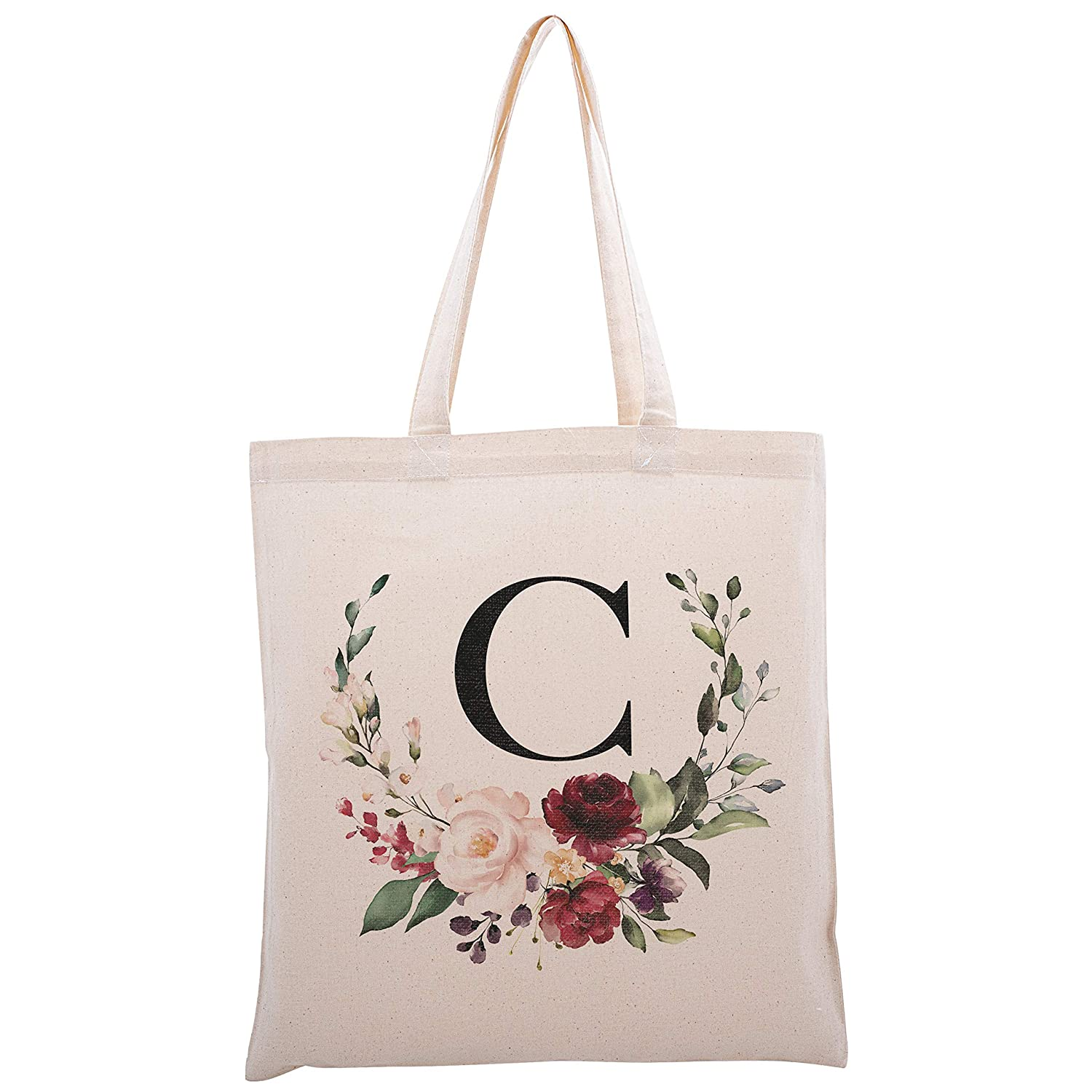 Floral Initial Tote Bag Event Bachelorette Party Baby Shower Bridesmaid Dsgn 2