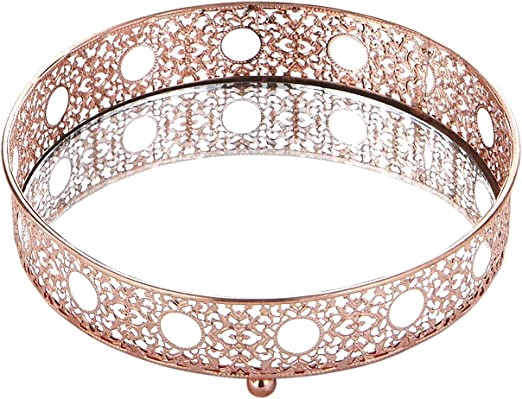 Amazon Com Egnazia Rose Gold Metal Mirror Tray Small Rounded Intricate Home Kitchen