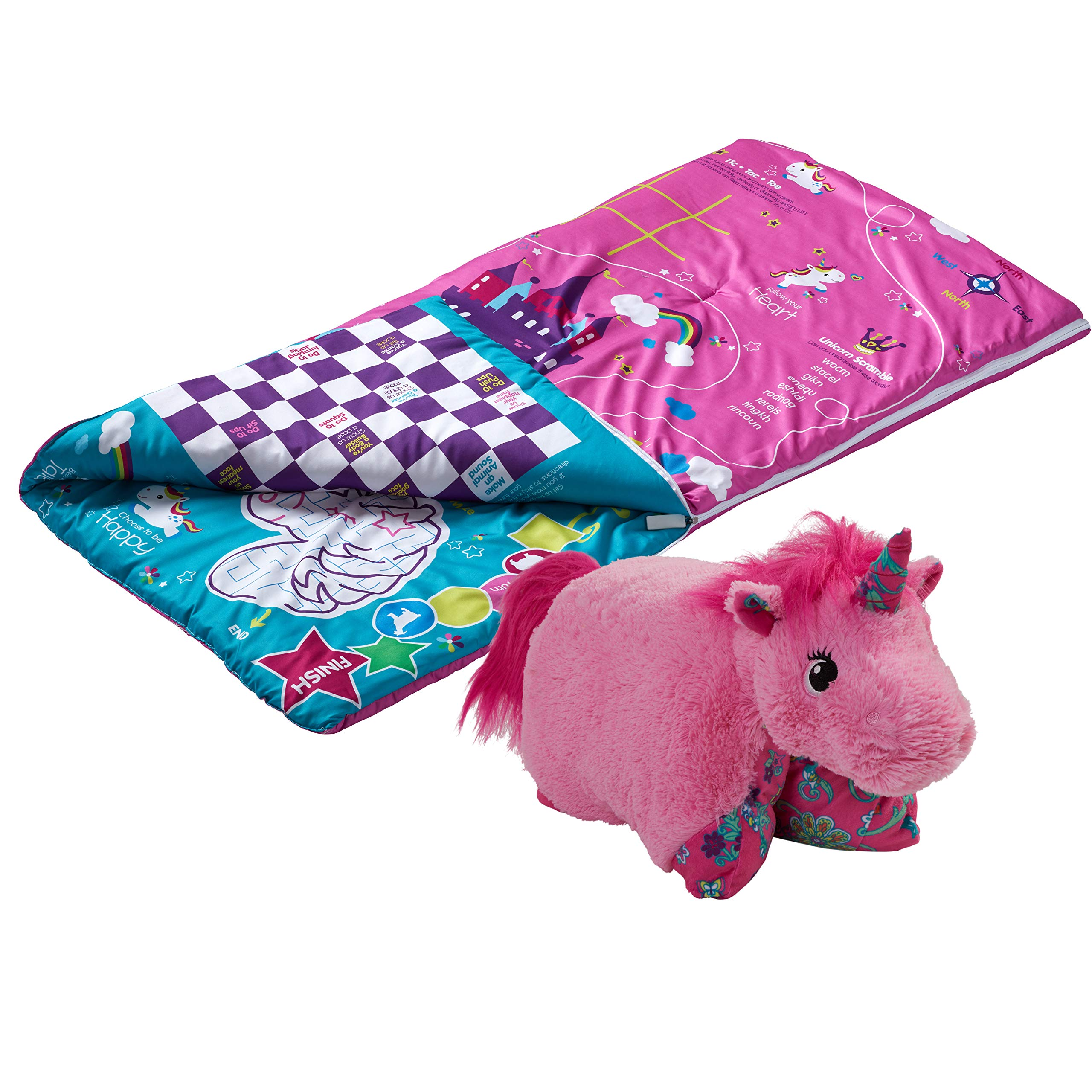 Pillow Pets SlumberPlay Pink Unicorn Sleeping Bag with 15 Games Printed on Bag and Pink Unicorn Combo by Pillow Pets