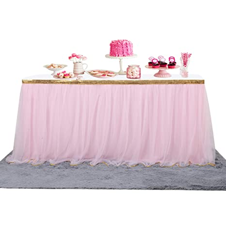 Pink Round Table.6 Ft Pink Table Skirt Gold Trim Mesh Tutu Tulle Table Skirt For Rectangle Or Round Tables Baby Shower Wedding Birthday Party Decorations Unicorn