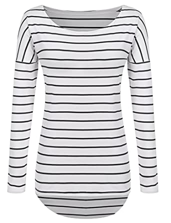 POGTMM Long Sleeve Striped T Shirt Tunic Tops for Leggings for ...
