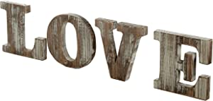 MyGift Rustic Style Torched Wood Block Cutout Letters Decorative 'Love' Sign
