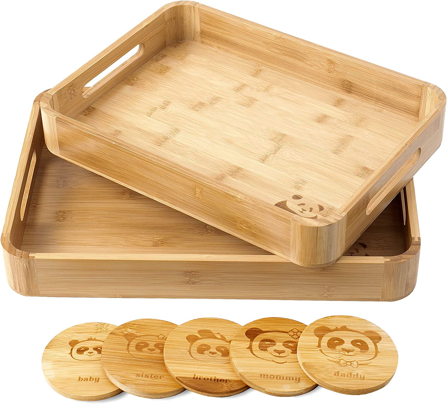 Panda Home Serving Tray Set of 2 Bamboo Trays with 5 Cup Coasters– (17x12 and 15x11.5) Bamboo Tray with Handle – Ottoman Wood Tray for Breakfast – Multifunctional and Practical Food Serving Trays