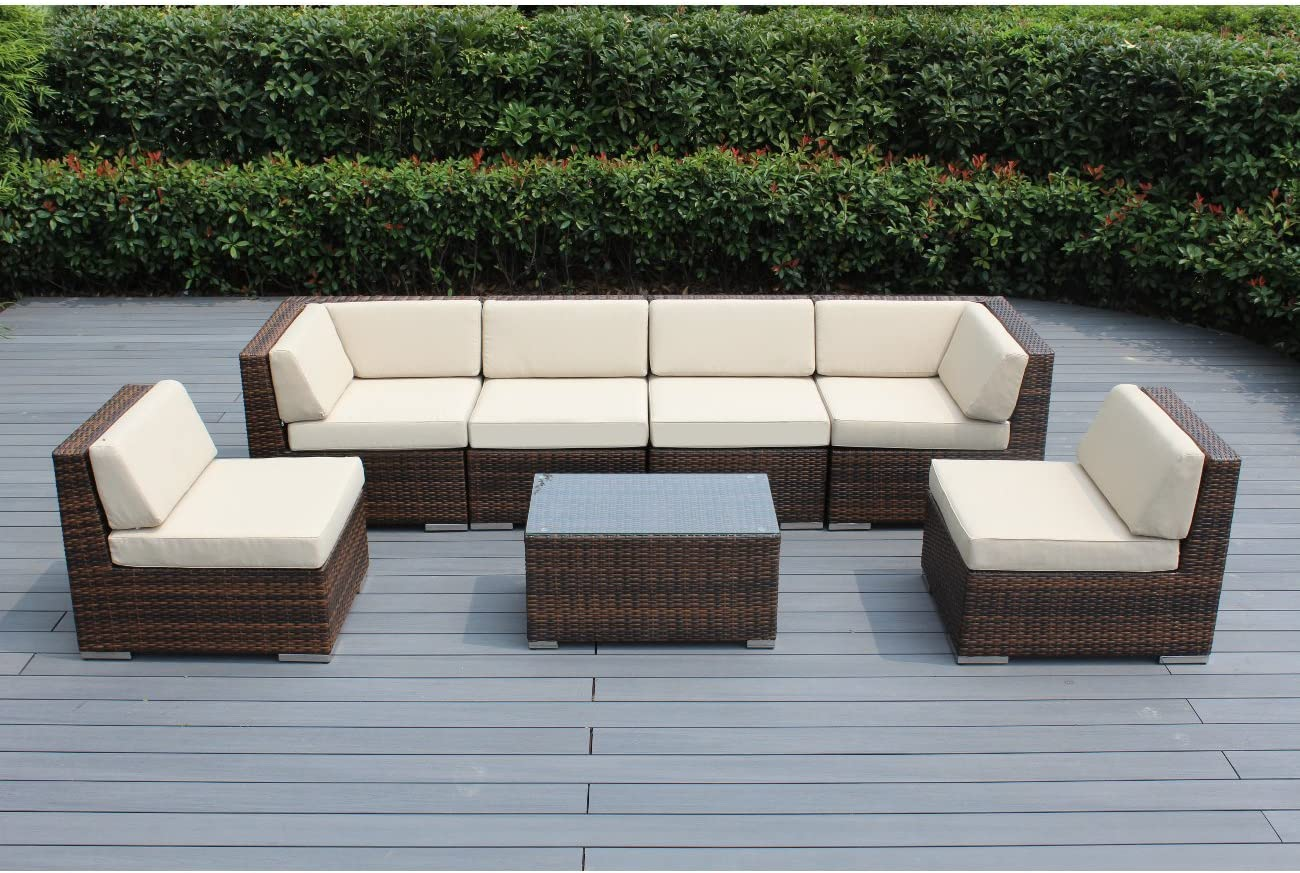 Amazon Com Ohana 7 Piece Outdoor Patio Furniture Sectional Conversation Set Mixed Brown Wicker With Beige Cushions No Assembly With Free Patio Cover Garden Outdoor