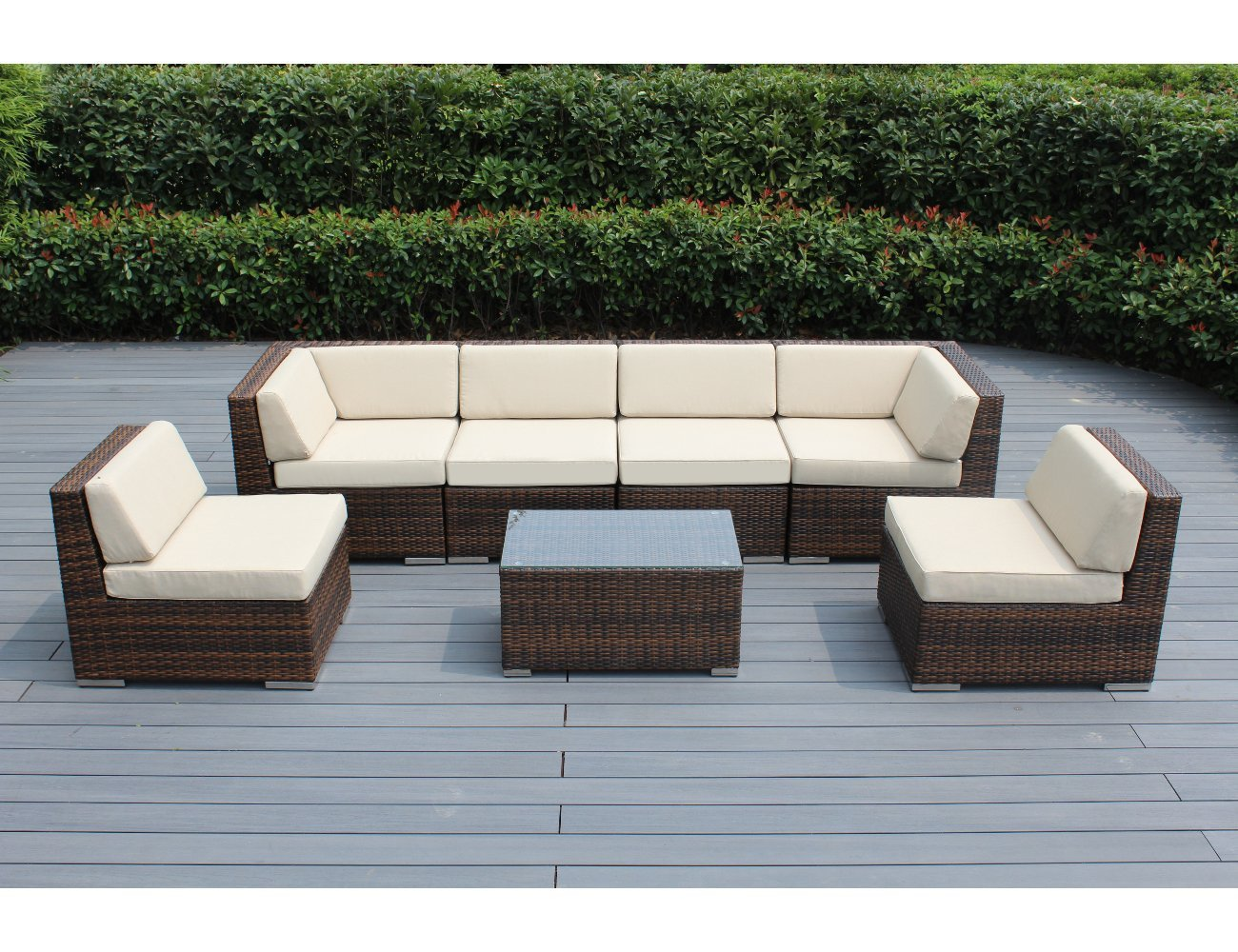 Ohana 7-Piece Outdoor Patio Furniture Sectional Conversation Set, Mixed Brown Wicker with Beige Cushions – No Assembly with Free Patio Cover