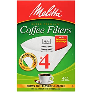 Melitta#4 Super Premium Cone Coffee Filters, White, 40 ct