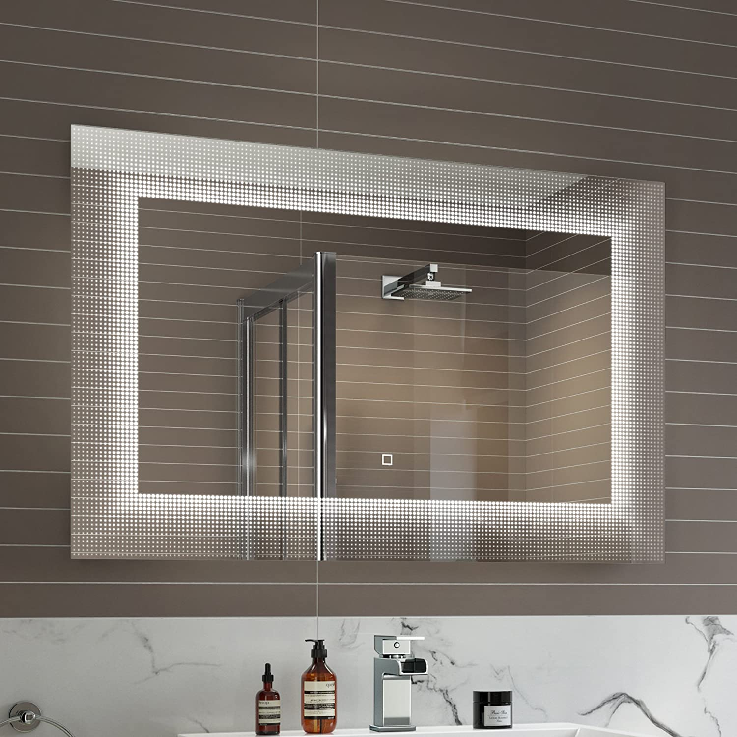 Lighted Bathroom Wall Mirror Large: Large Illuminated LED Bathroom Mirror Fashion Light Sensor