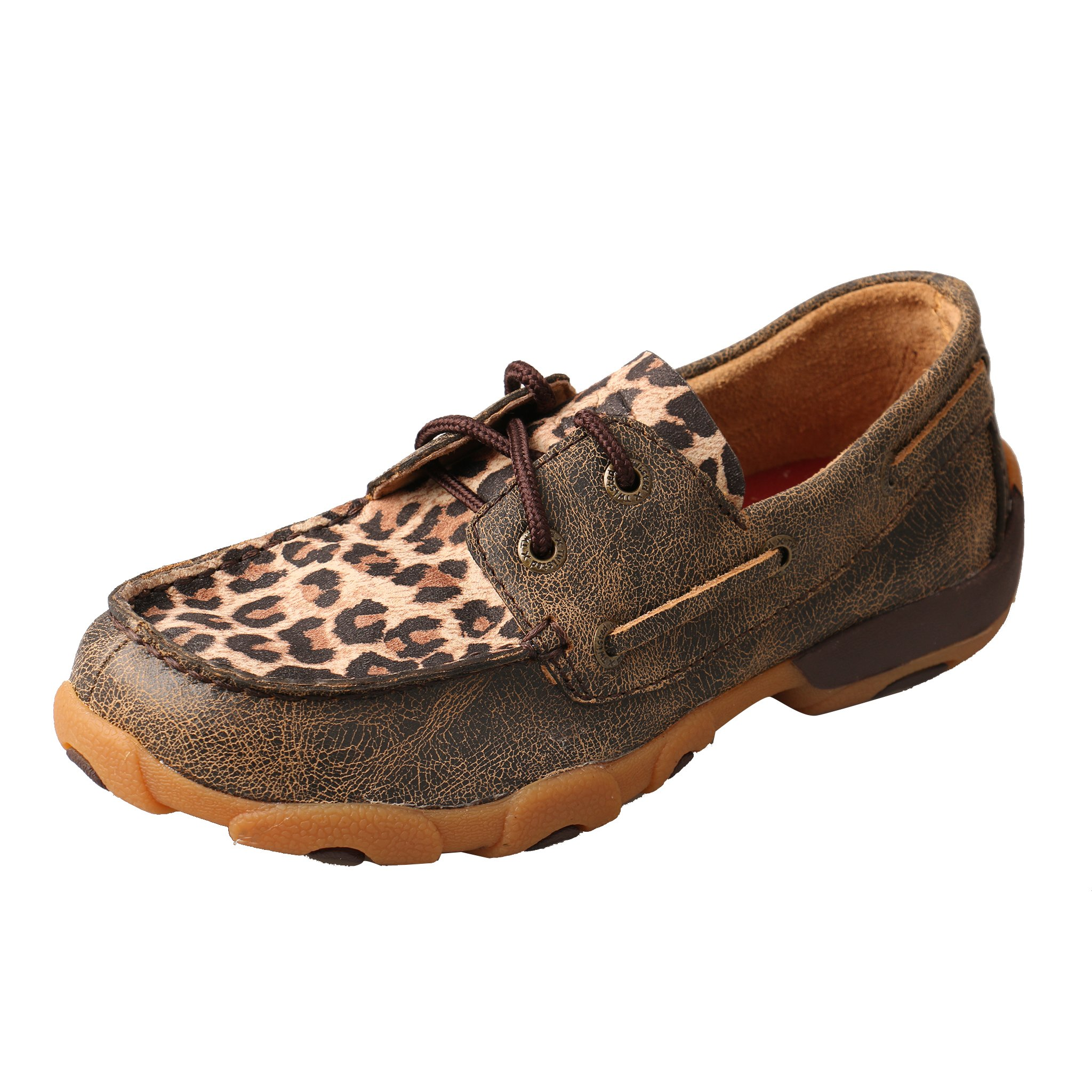 Twisted X Unisex Driving Moc Boat Shoe (Little Kid/Big Kid) Distressed/Leopard 6 M US Big Kid