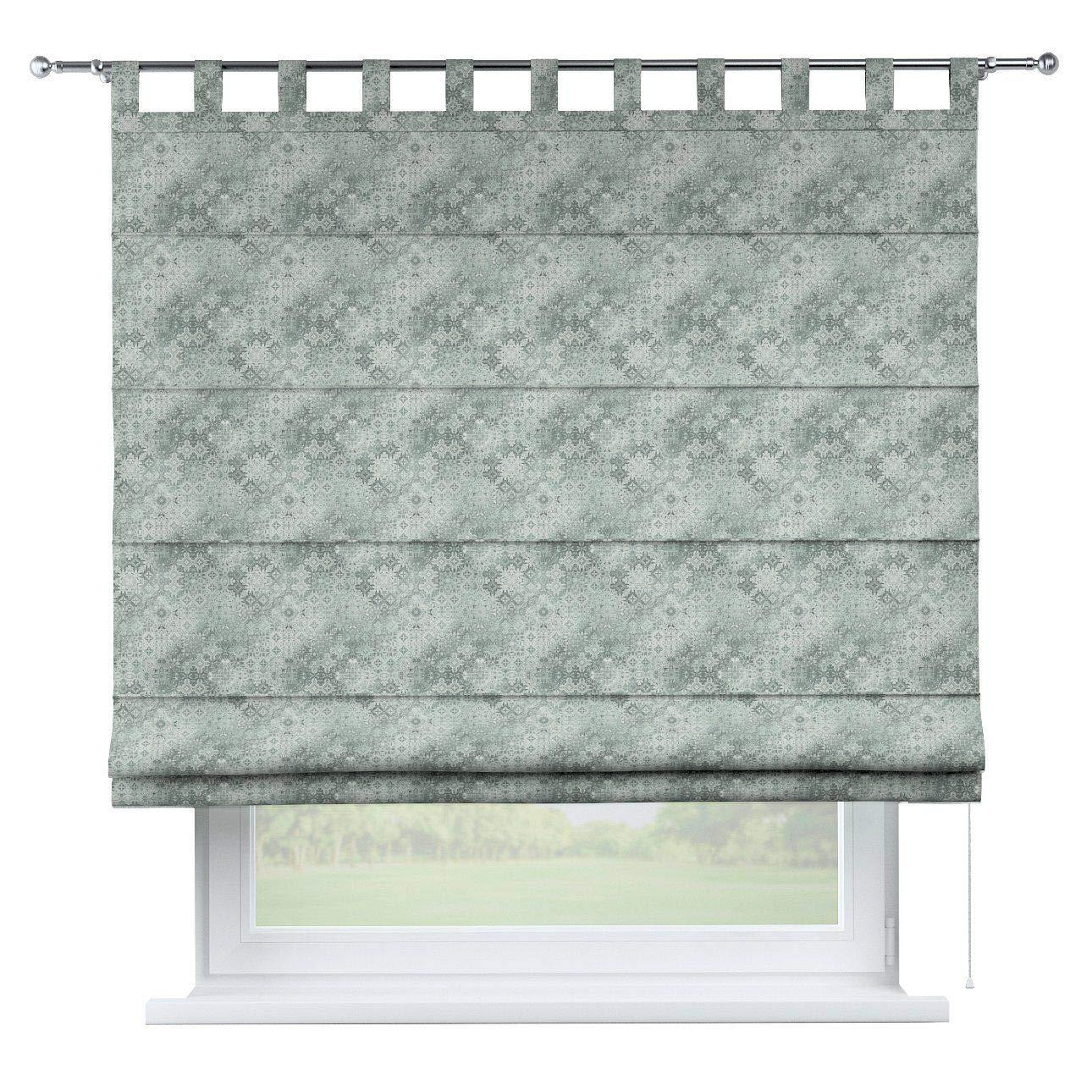Dekoria Raffrollo Verona ohne Bohren Blickdicht Faltvorhang Raffgardine Wohnzimmer Schlafzimmer Kinderzimmer 80 × 170 cm grau- mintgrün Raffrollos auf Maß maßanfertigung möglich