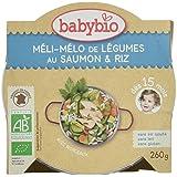 Babybio Assiette Méli-Mélo de Légumes au Saumon Riz 15+ Mois 260 g - Lot de 4
