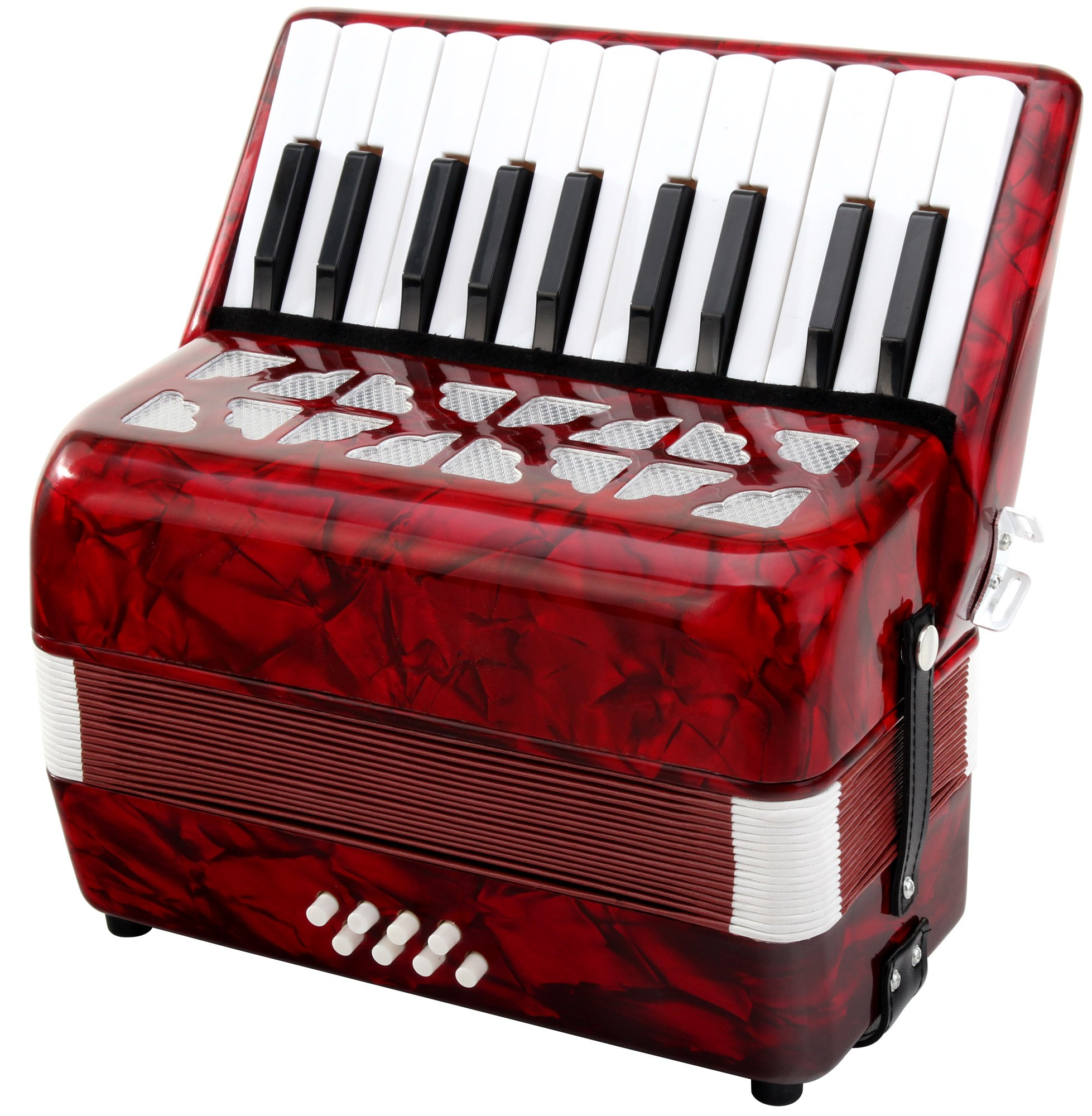 Classic Cantabile Secondo Junior 8 Bass Accordion 22 Treble Keys Eight Bass Keys with Strap and Gig Bag Red by Classic Cantabile