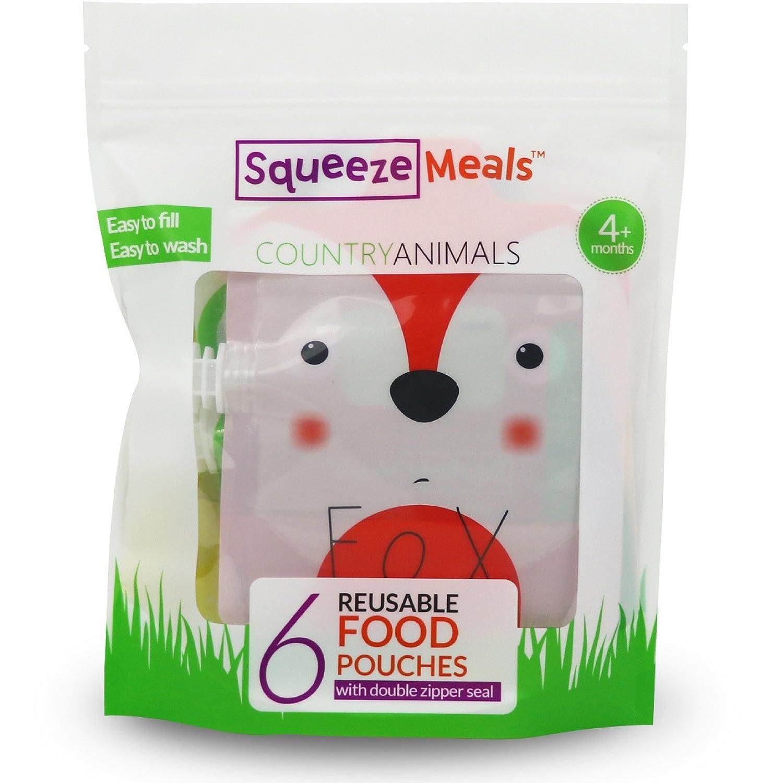 Zoo Animals 6er pack Squeeze Meals Quetschies wiederverwendbar f/ür Obst P/üree BPA-freie Smoothies Joghurt Fruchtmus