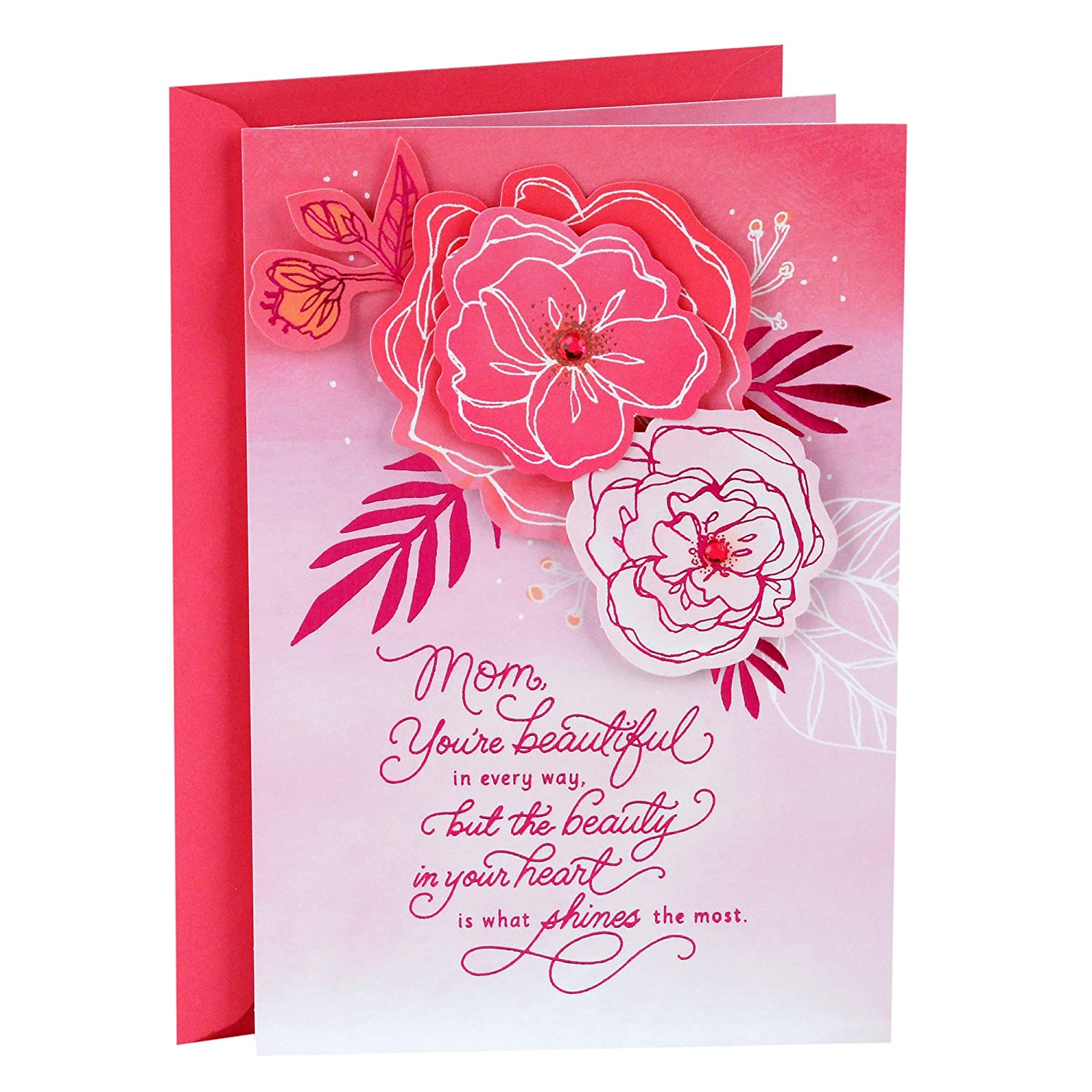 HALLMARK BEAUTIFUL BOUQUET OF FLOWERS TO A DEAR MOTHER BIRTHDAY GREETING CARD