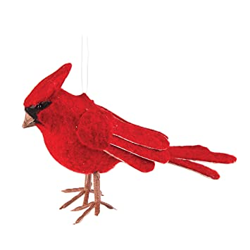 red bird felt cardinal christmas ornament
