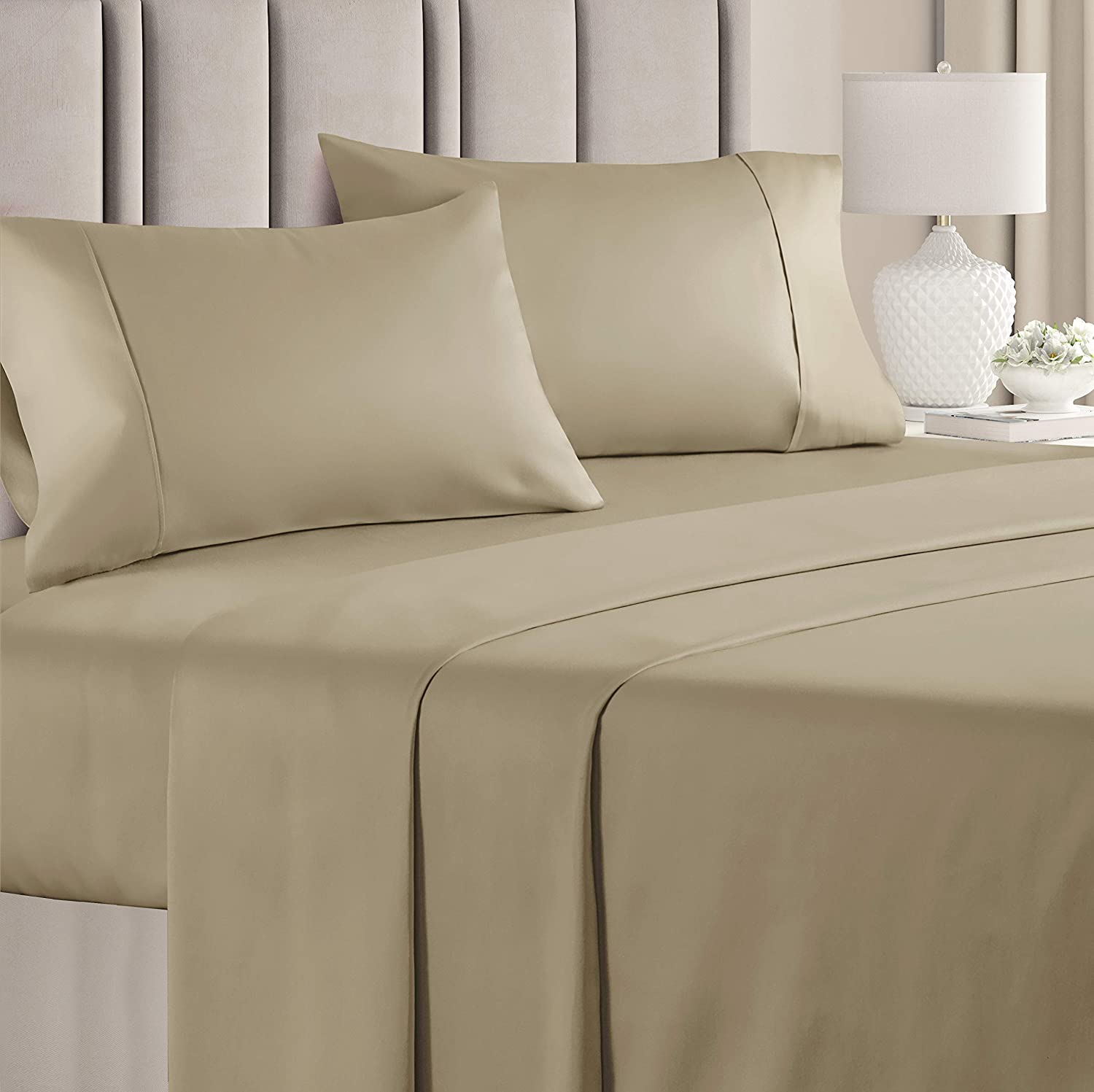 Queen CGK Unlimited Beige Cotton 400 Thread Count Bed Sheet for Sensitive Skin