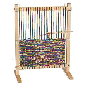 "Melissa & Doug Wooden Multi-Craft Weaving Loom (Arts & Crafts, Extra-Large Frame, Develops Creativity and Motor Skills, 16.5"" H x 22.75"" W x 9.5"" L)"