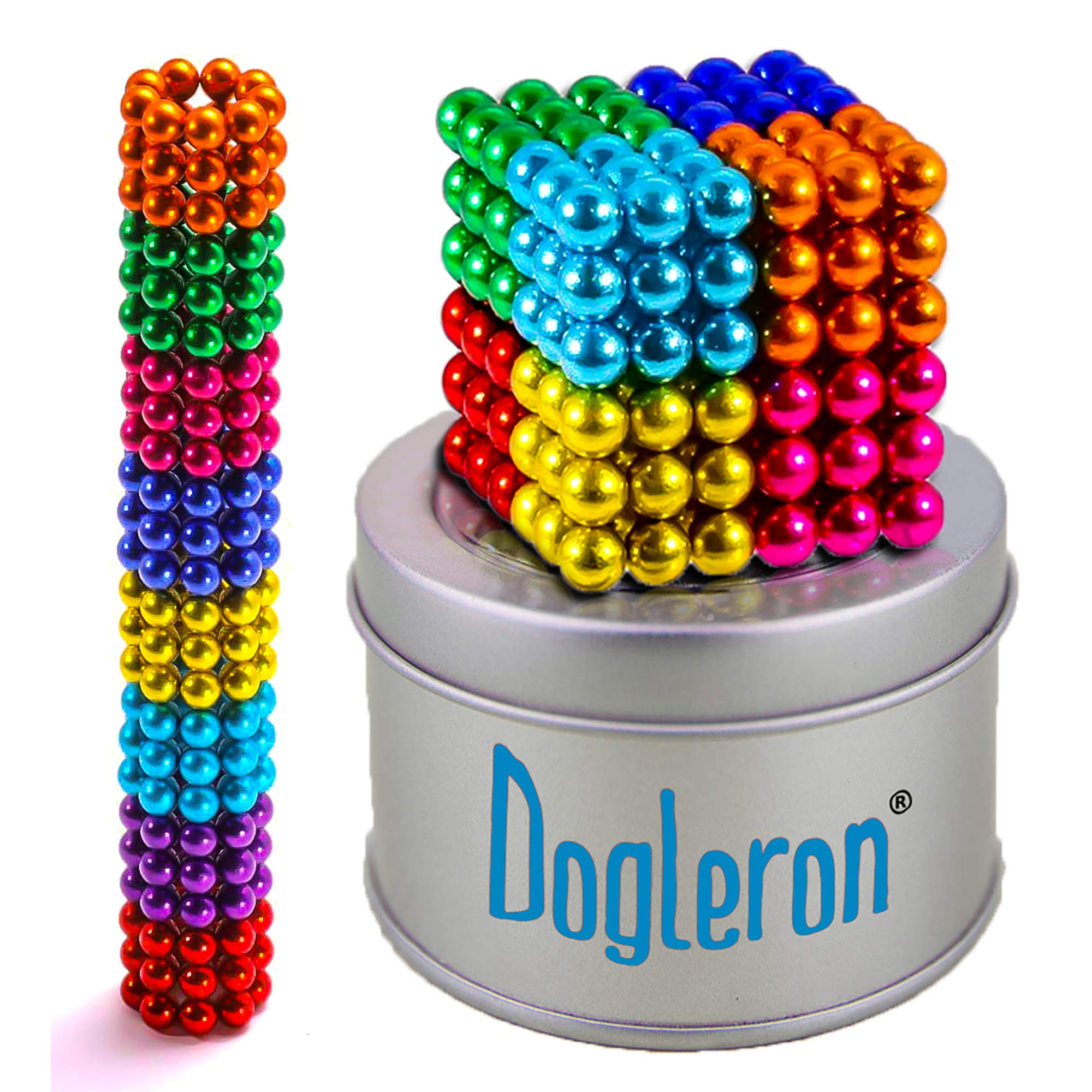 DOGLERON Magnetic Balls 8 Color 5mm 216pcs Magnets Desk Colorful Sculpture Toys Magnetic Fidget Building Blocks for Development of Intelligence Learning and Stress Relief Gift for Adults or Kids by DOGLERON