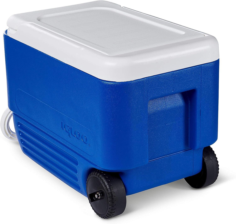 Blue//White Wheelie Cooler 38 Quart Outdoor Picnic Beverage Storage Ice Chest