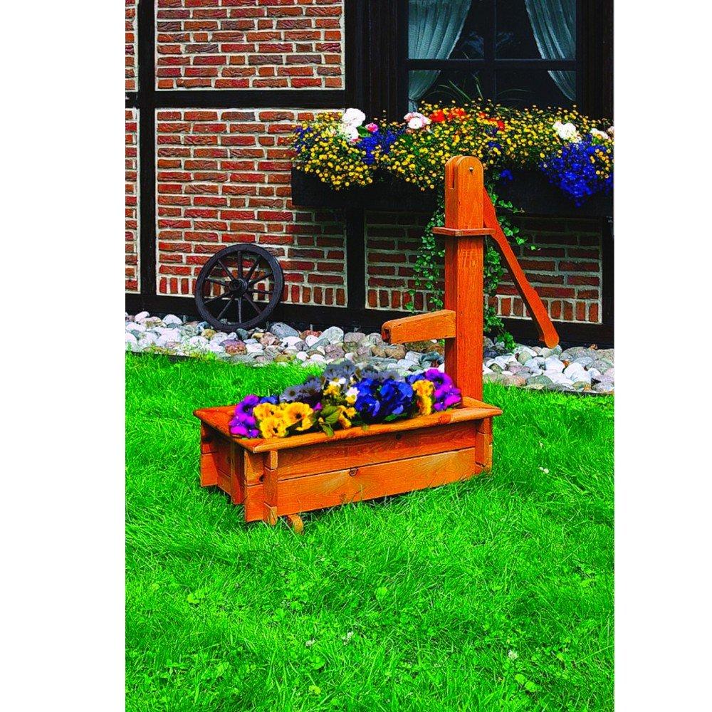 Deko Holztrog auch als Wasserspiel imprägniertes Holz Gartendekoration, Zubehör:Einsatz & Pumpe