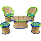 Ecowoodies Arbutus Eco Friendly Breakfast Pub High Chair Set( 2 Chairs+2 Stools+ 1 Table)