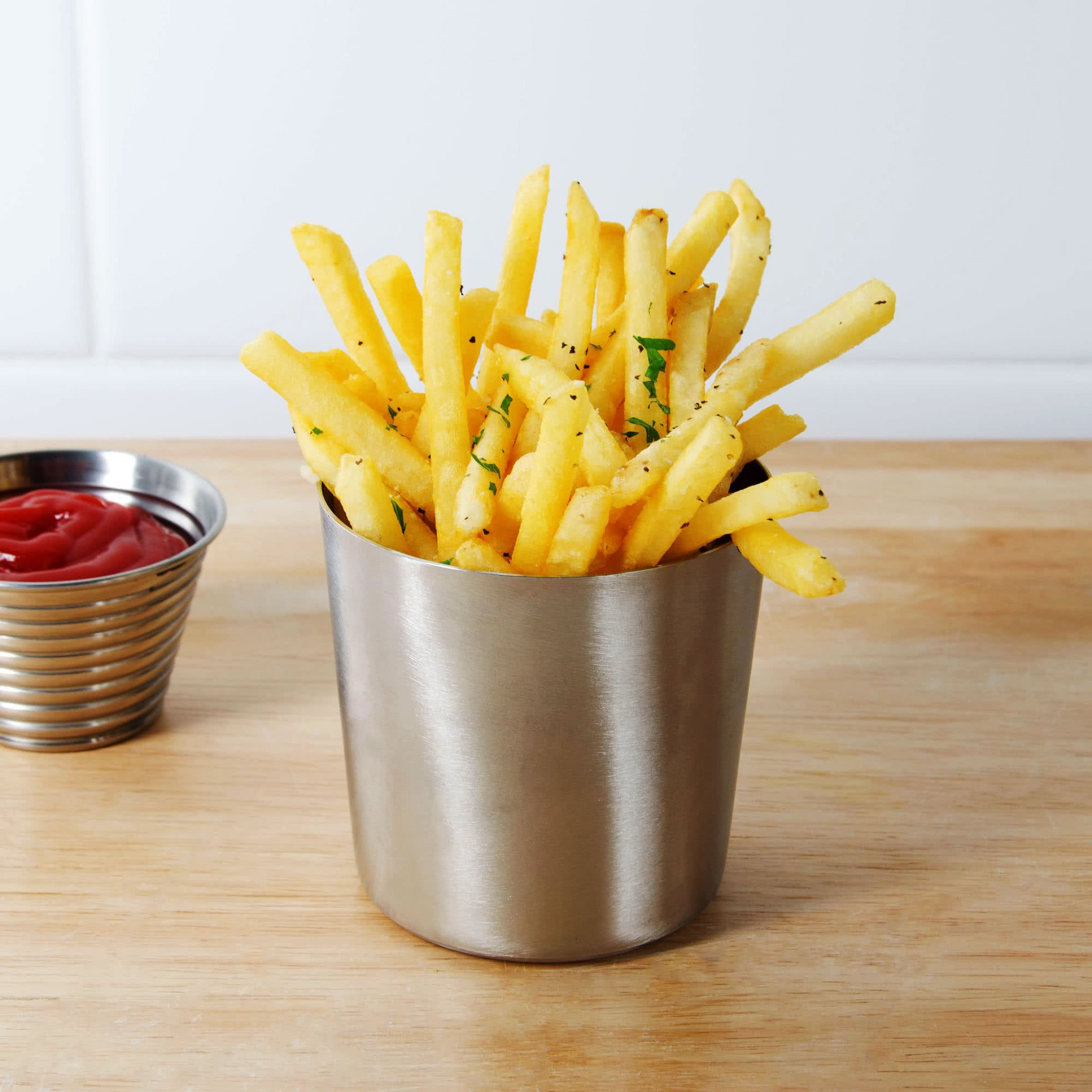 Table Top King FFC337 3 3/8'' Satin Stainless Steel French Fry Cup