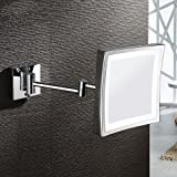 AECHOO Wall Mounted Mirrors Makeup Shaving Mirror LED Lighted Luxury Bathroom Mirror for Hotel Vanity with Adjustable Extendable Square 8.5inch 5x Magnification Surface Chrome Finish