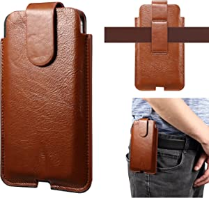 Phone Belt Clips For iPhone 11 Pro Max,XS Max,8 Plus,7 Plus,6 Plus,6s Plus Cell Phone Holster, Premium Genuine Leather Pouch Holster Case With Belt Loop For Galaxy S21 5G,Note10 ( Color : Brown )