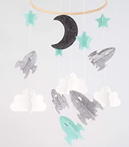 Baby Crib Mobile for Boys and Girls - Blue Baby Nursery Decor Infant Room Hanging Decoration Toy Newborn (Woodland Star Moon Cloud Airplane Modern Unisex Wool) Space