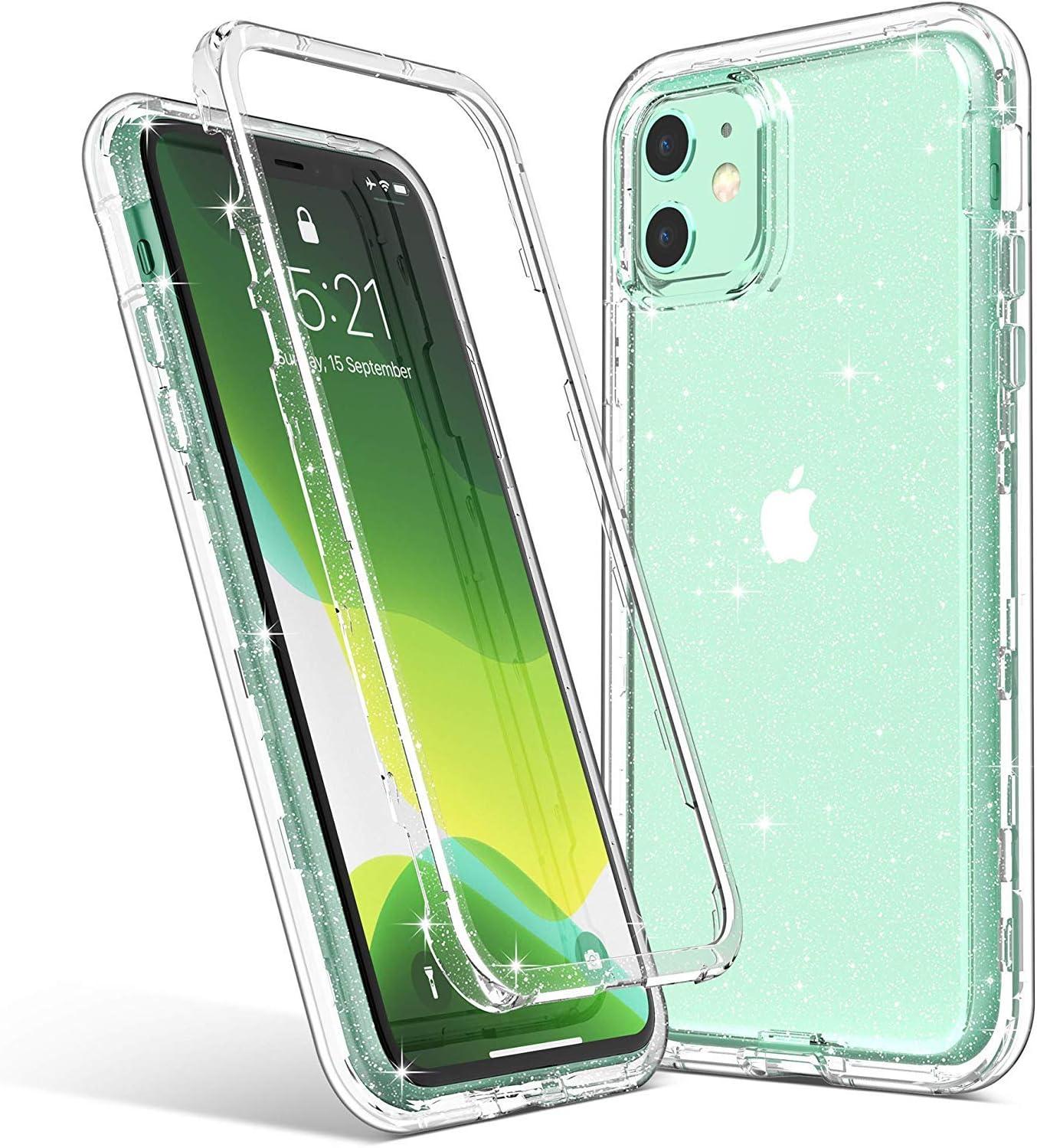 ULAK Coque iPhone 11 Paillettes, Transparente Étui Housse 3 en 1 Souple Bumper TPU et PC Protection Antichoc Anti-Rayures Coque pour Apple iPhone 11 ...