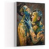 WALL ART FOR MEN,room decor,oil painting nude male man,men oil painting art MEN MAN GAY art work,8''x12''Framed Modern Canvas