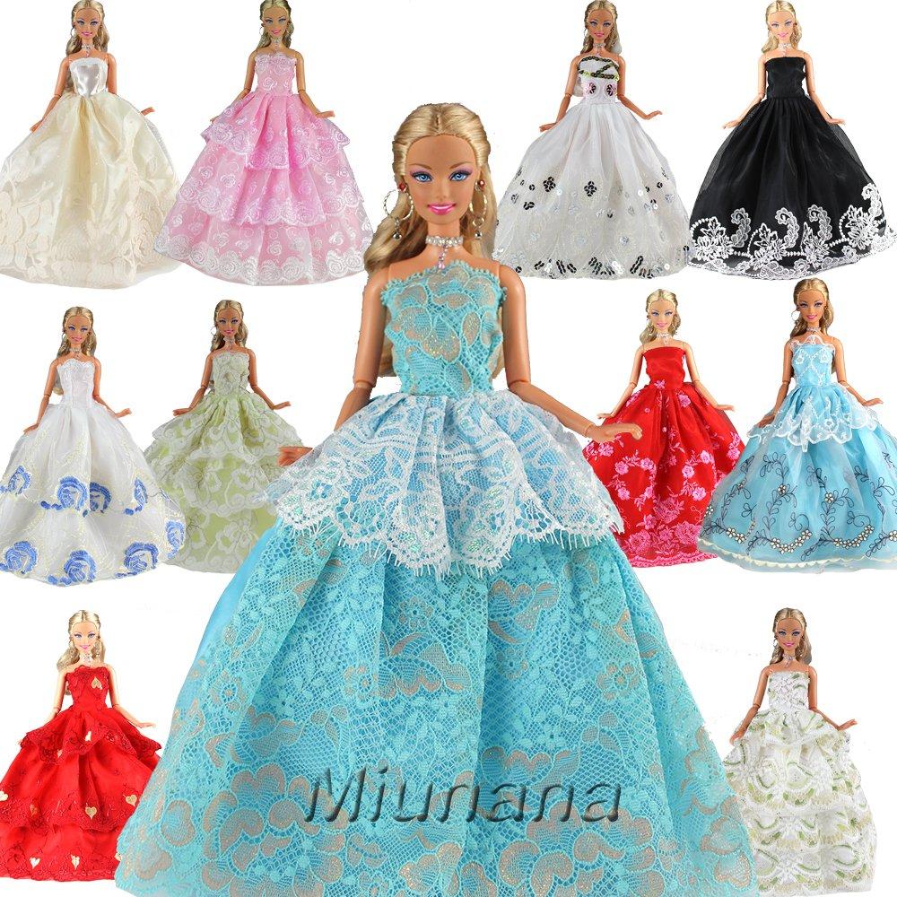 Amazon.es: Miunana 5x Vestidos Princesa Novia Ropa de Fiesta Boda ...