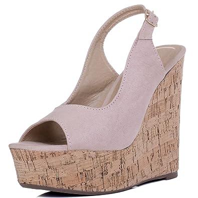 29cde3239696 Spylovebuy Down at Heel Women s Adjustable Buckle Wedge Heel Sandals ...