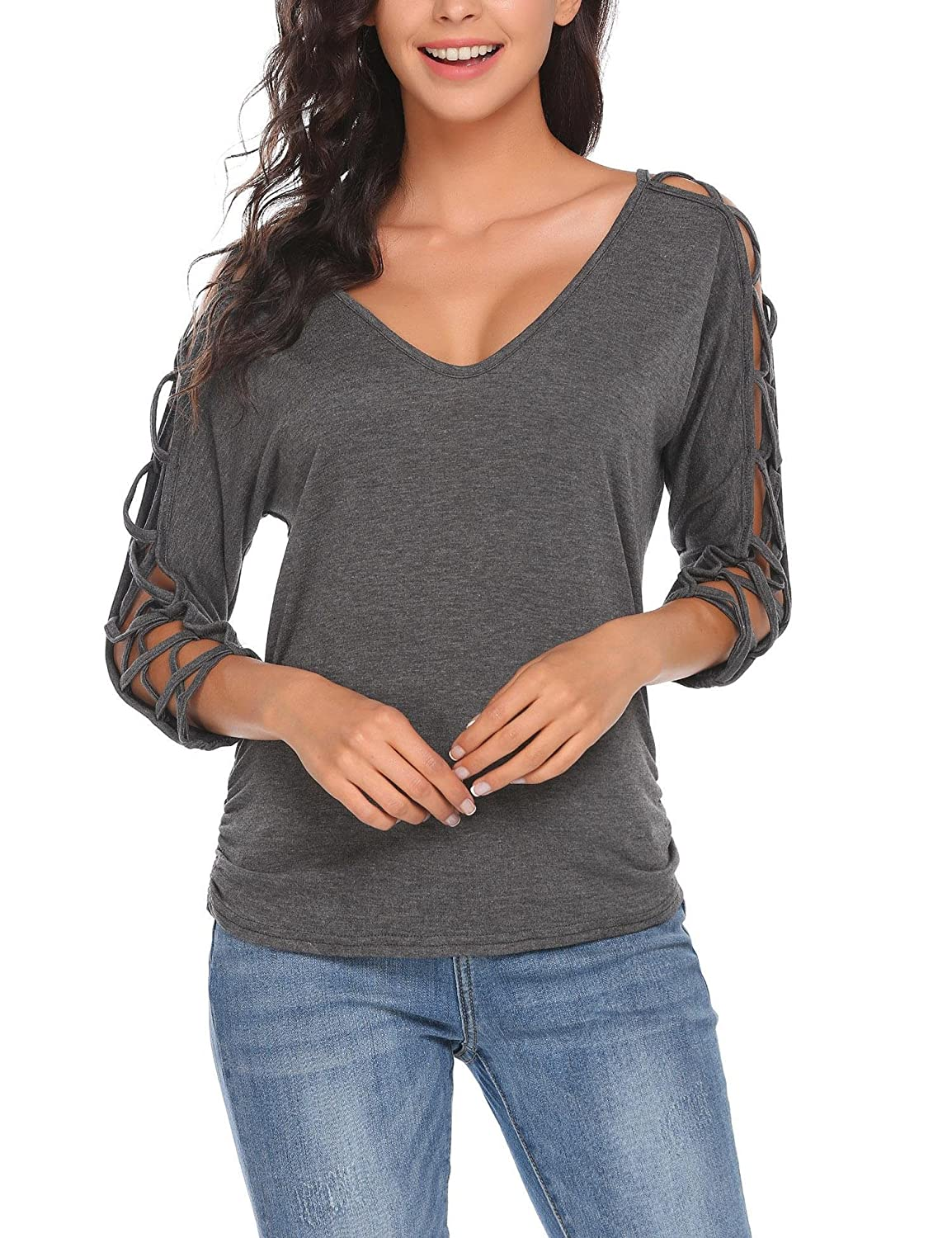 ELESOL Women V Neck Cut Out Shirts 3//4 Sleeve Cold Shoulder Open Back Blouse Tops S-XXL