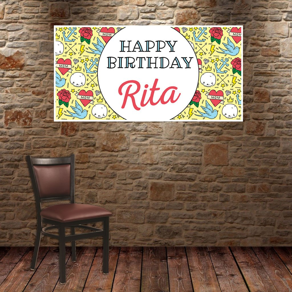Tattoo Birthday Banner Personalized Party Backdrop Decoration