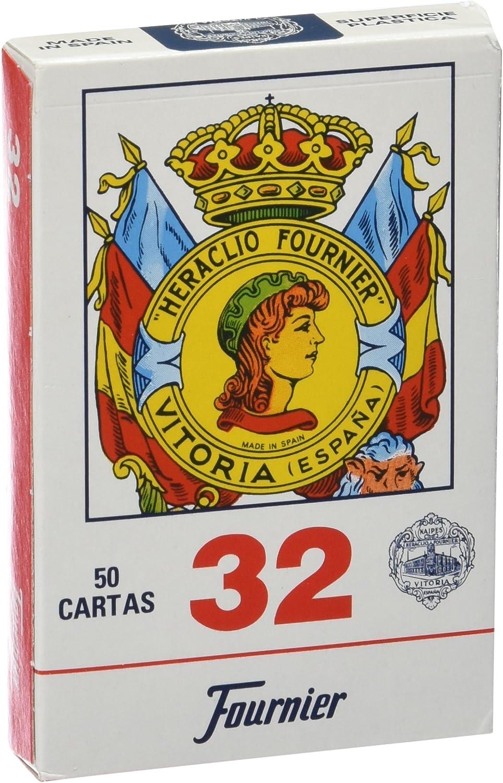 Fournier - Nº 32, 50 Cartas españolas, Color Azul / Rojo (F20993): Amazon.es: Juguetes y juegos